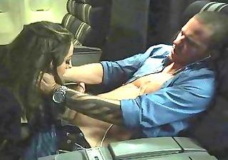 stewardess stretches her slit around a fat pounder