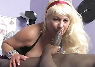 sporty golden-haired momma with big melons sucks