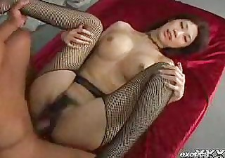 large titty oriental in fishnet stockings has a