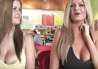 taryn and danielle breasty women public flashing