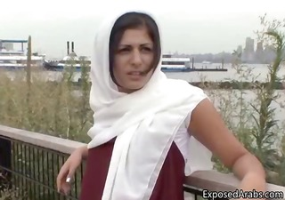 horny arab girl in a white scarf receives part6